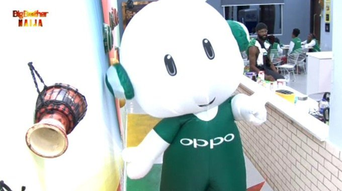 BBNaija Oppo Task: mascot in the house